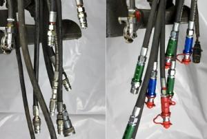 Vergleich, Hydraulikschlauchleitungen mit und ohne KENNFIXX.
