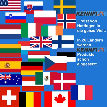 Flaggencollage. Kennfixx ist weltweit verbreitet